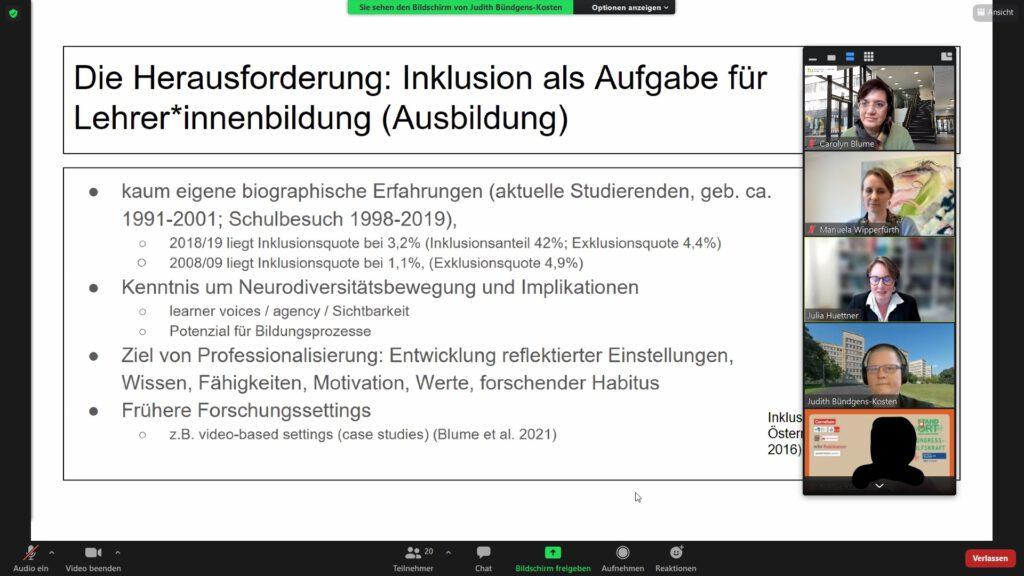 """Screenshot of Zoom Room, with Carolyn Blume, Manuela Wipperfürth, Julian Hüttner an Judith Bündgens-Kosten visible on the right side. Title of slide: """"Der Herausforderung: Inklusion als Aufgabe für Lehrer*innenbildung (Ausbildung)"""""""